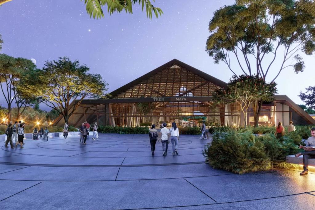 Este es el diseño de la estación Palenque del Tren Maya